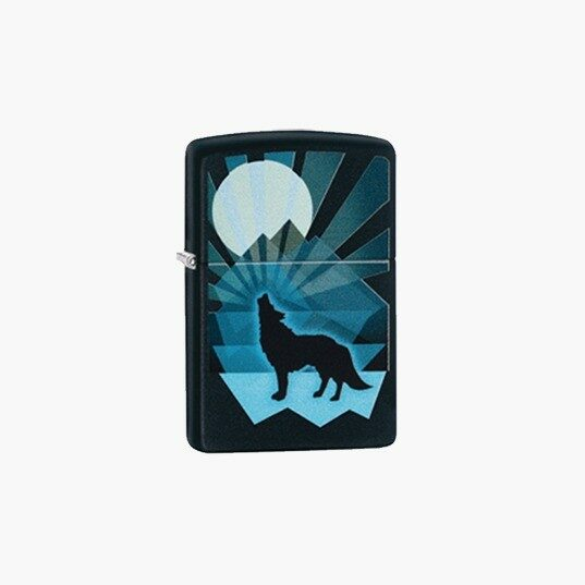 Zippo Lighters Wolf And Moon Design